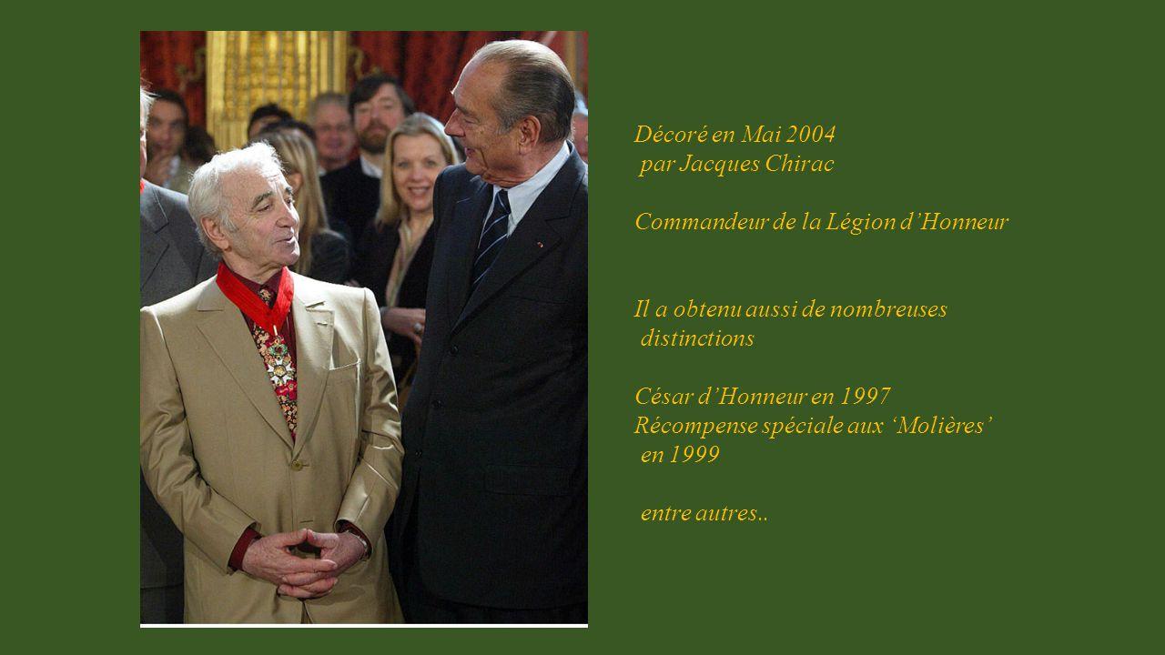 Décoré en Mai 2004 par Jacques Chirac. Commandeur de la Légion d'Honneur. Il a obtenu aussi de nombreuses.