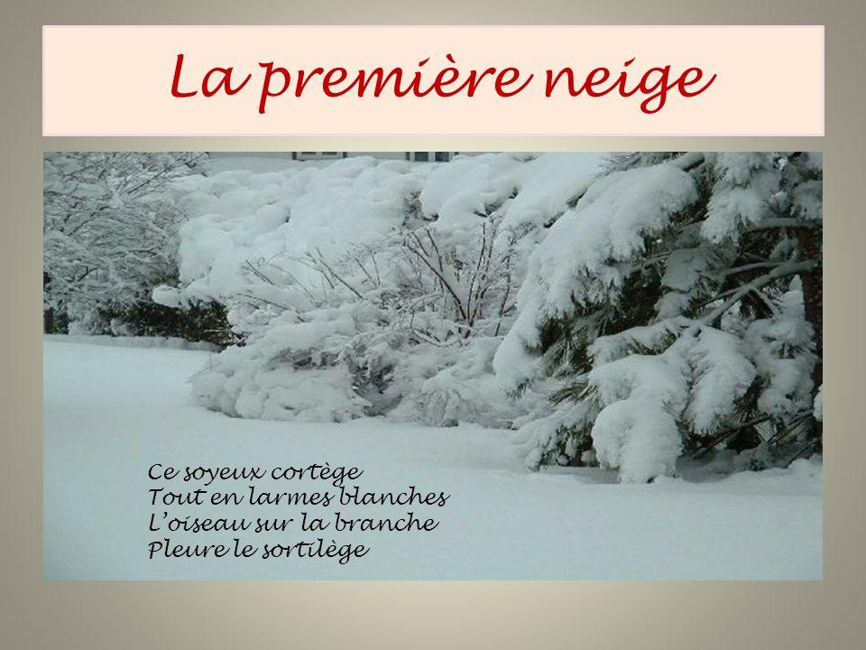 La première neige Ce soyeux cortège Tout en larmes blanches