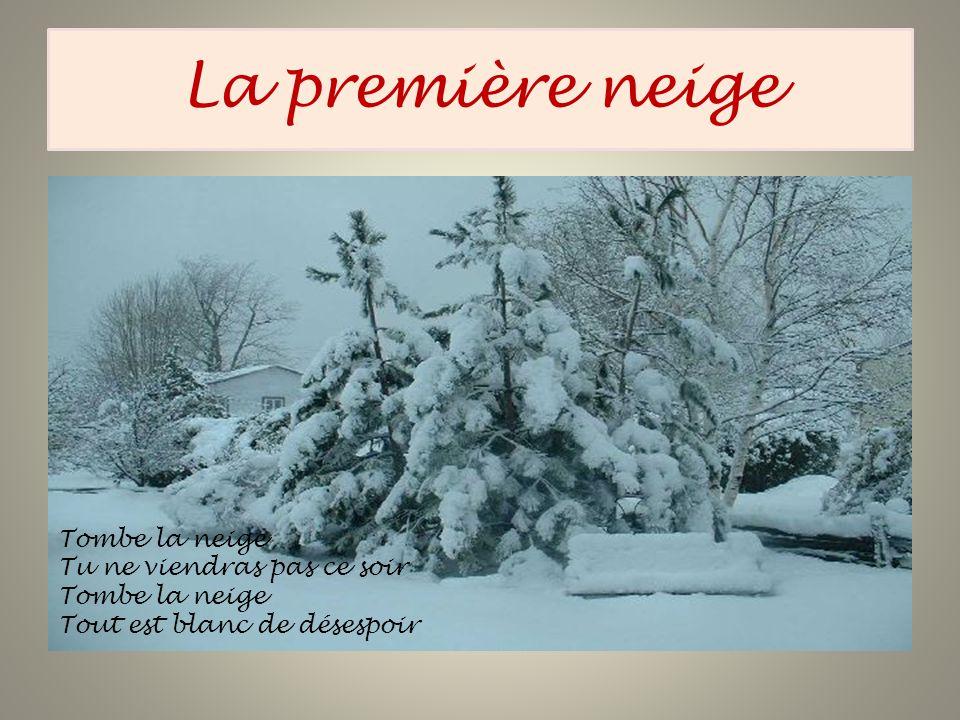La première neige Tombe la neige Tu ne viendras pas ce soir