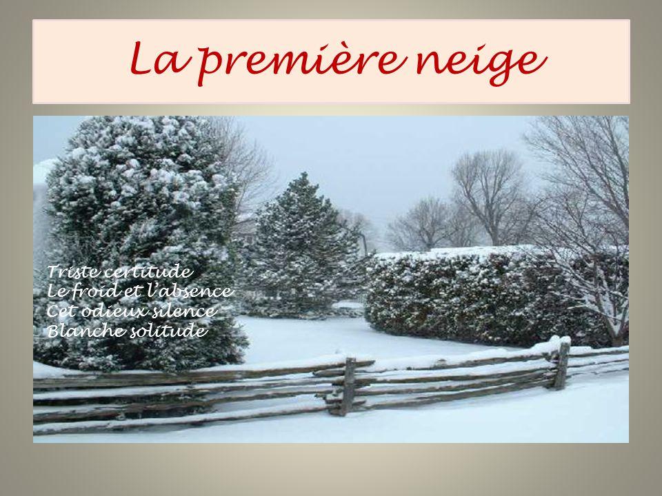 La première neige Triste certitude Le froid et l'absence