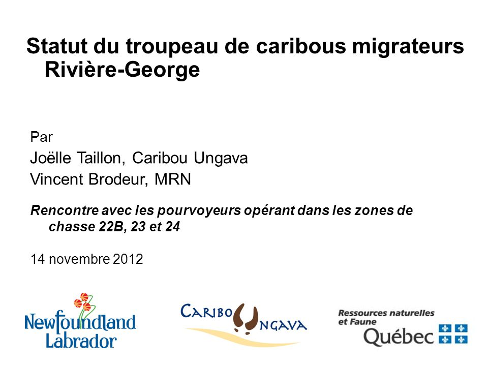 Statut du troupeau de caribous migrateurs Rivière-George