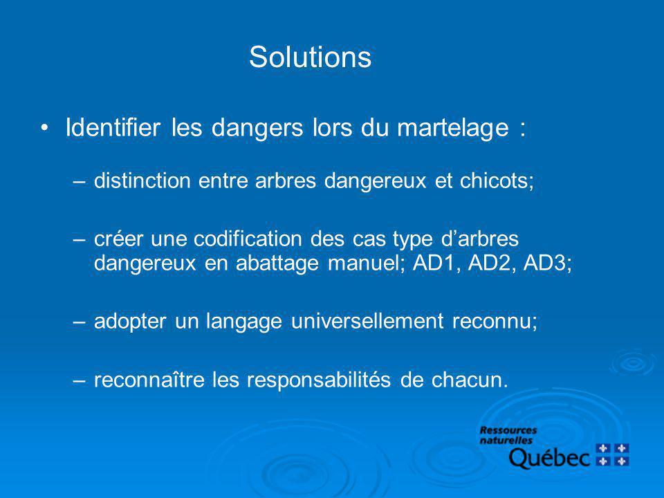 Solutions Identifier les dangers lors du martelage :