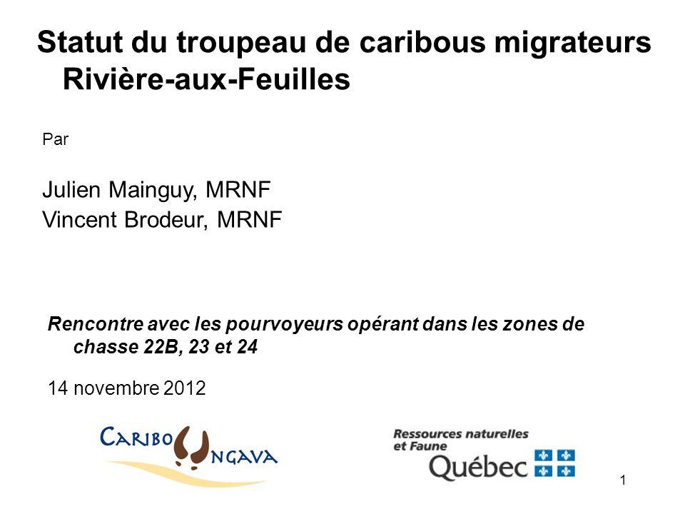Statut du troupeau de caribous migrateurs Rivière-aux-Feuilles