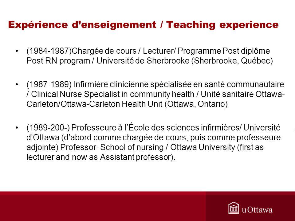 Expérience d'enseignement / Teaching experience