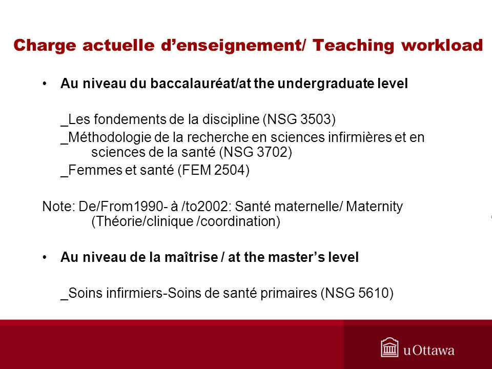 Charge actuelle d'enseignement/ Teaching workload