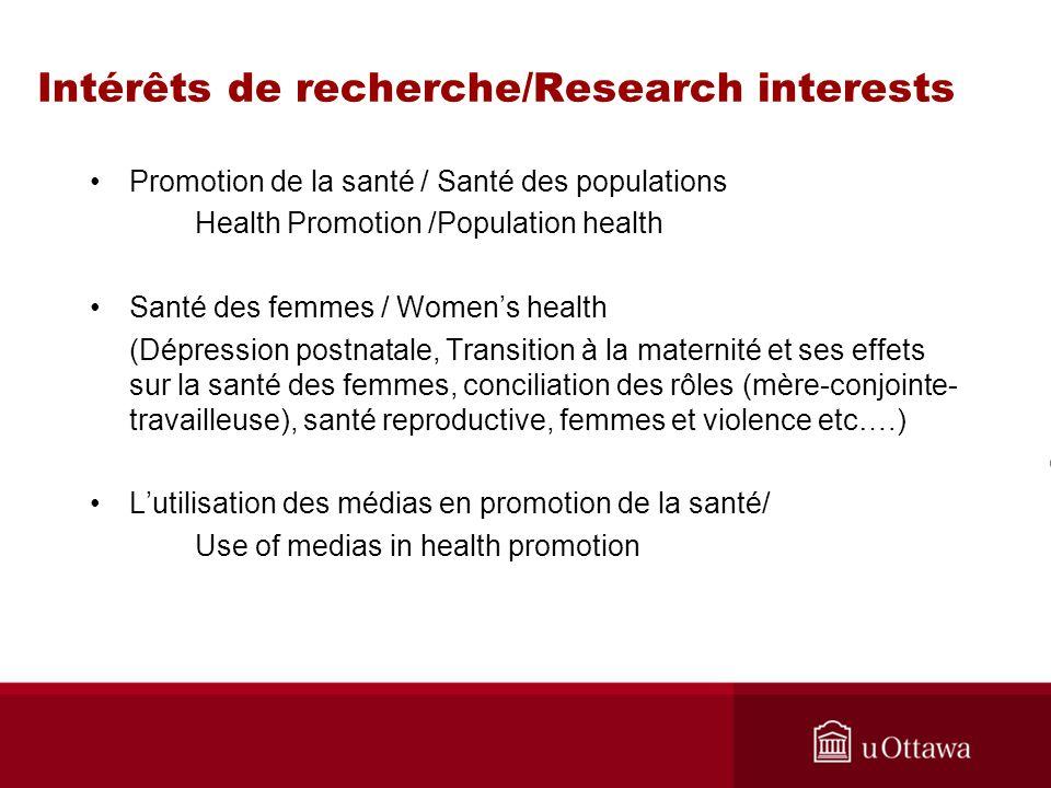 Intérêts de recherche/Research interests