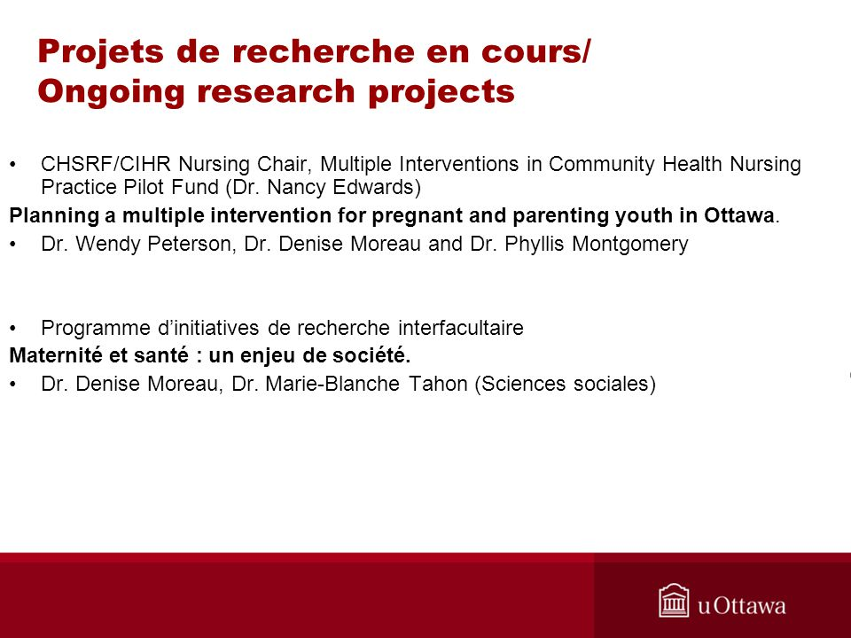 Projets de recherche en cours/ Ongoing research projects