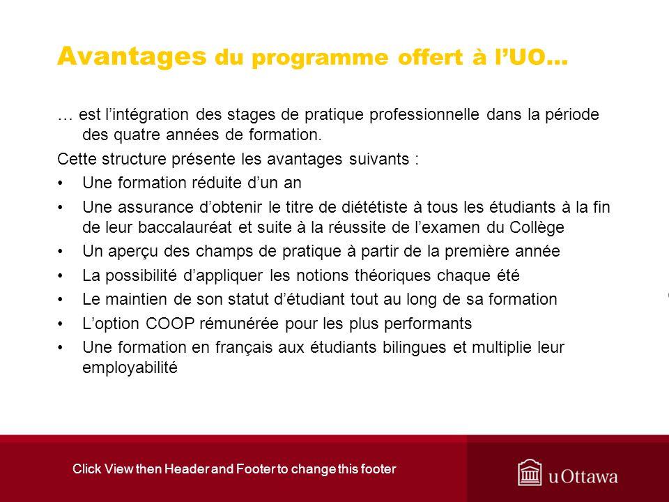 Avantages du programme offert à l'UO…