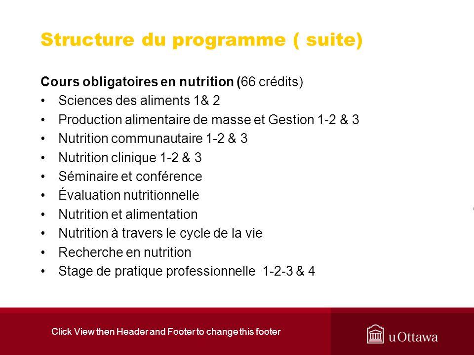 Structure du programme ( suite)