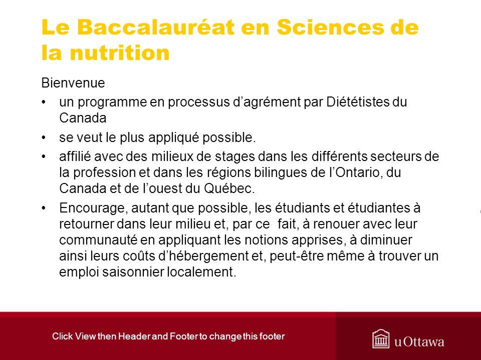 Le Baccalauréat en Sciences de la nutrition