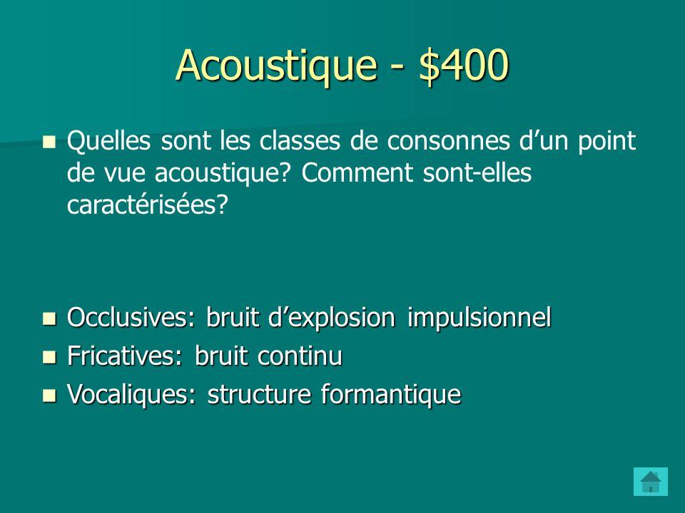 Acoustique - $400 Quelles sont les classes de consonnes d'un point de vue acoustique Comment sont-elles caractérisées