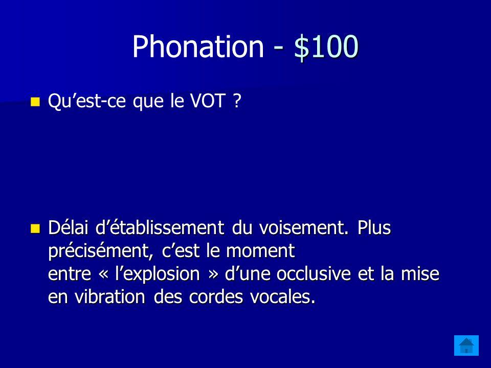 Phonation - $100 Qu'est-ce que le VOT