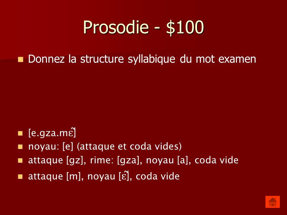 Prosodie - $100 Donnez la structure syllabique du mot examen