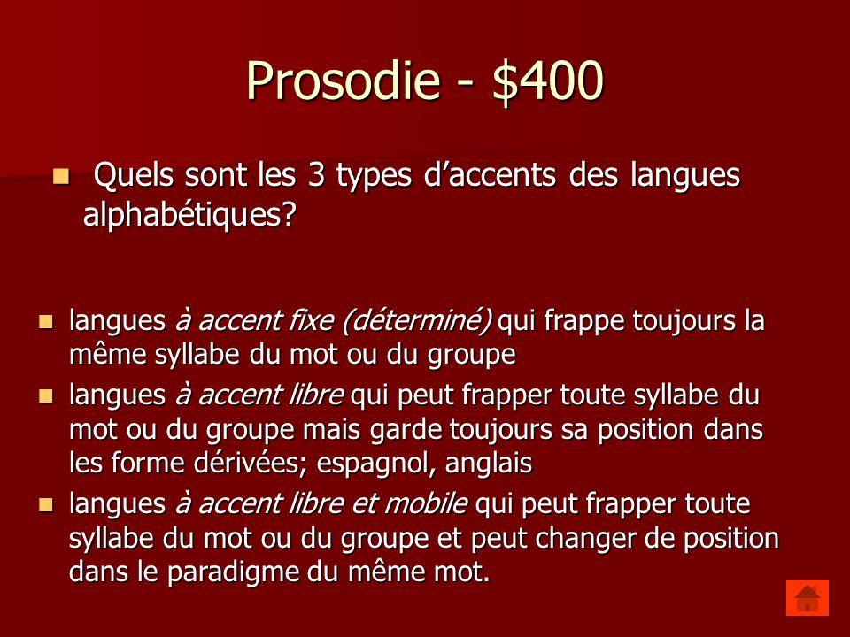 Prosodie - $400 Quels sont les 3 types d'accents des langues alphabétiques