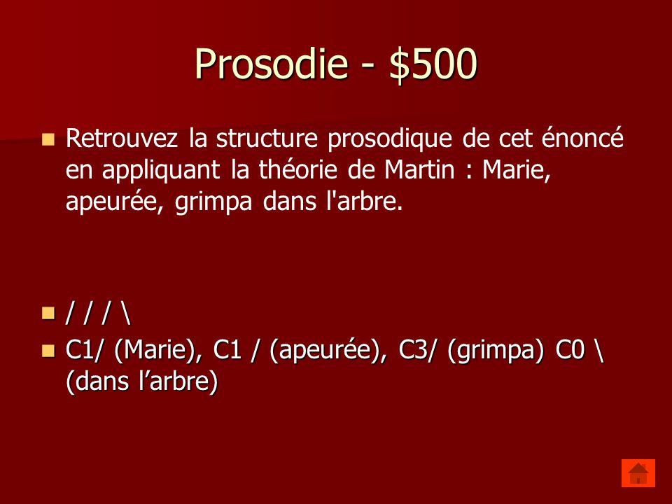 Prosodie - $500 Retrouvez la structure prosodique de cet énoncé en appliquant la théorie de Martin : Marie, apeurée, grimpa dans l arbre.