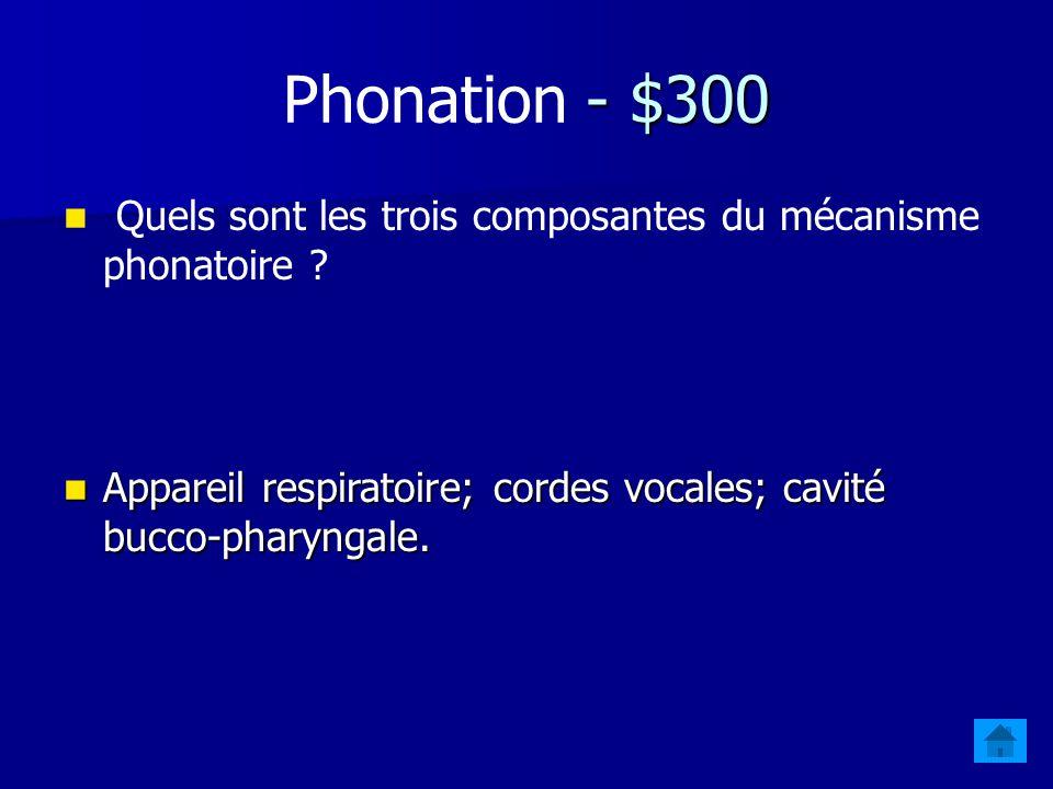 Phonation - $300 Quels sont les trois composantes du mécanisme phonatoire .