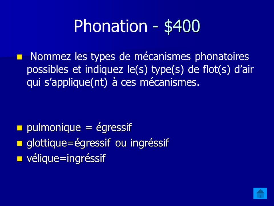 Phonation - $400 Nommez les types de mécanismes phonatoires possibles et indiquez le(s) type(s) de flot(s) d'air qui s'applique(nt) à ces mécanismes.