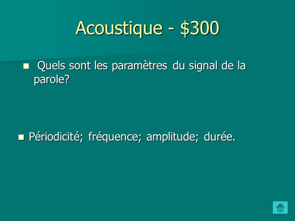 Acoustique - $300 Quels sont les paramètres du signal de la parole