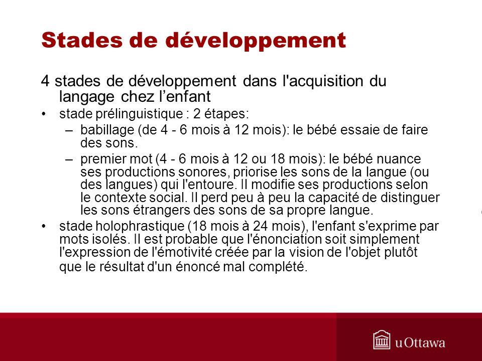 Stades de développement