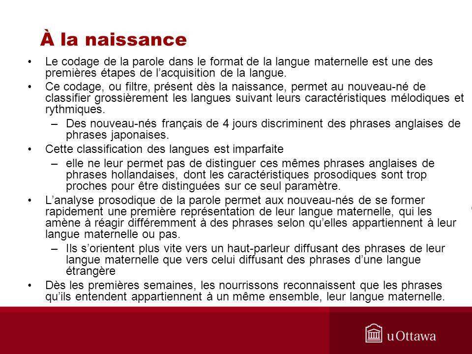 À la naissance Le codage de la parole dans le format de la langue maternelle est une des premières étapes de l'acquisition de la langue.