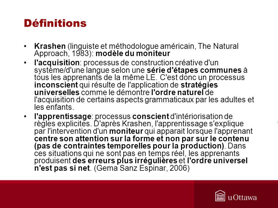Définitions Krashen (linguiste et méthodologue américain, The Natural Approach, 1983): modèle du moniteur.