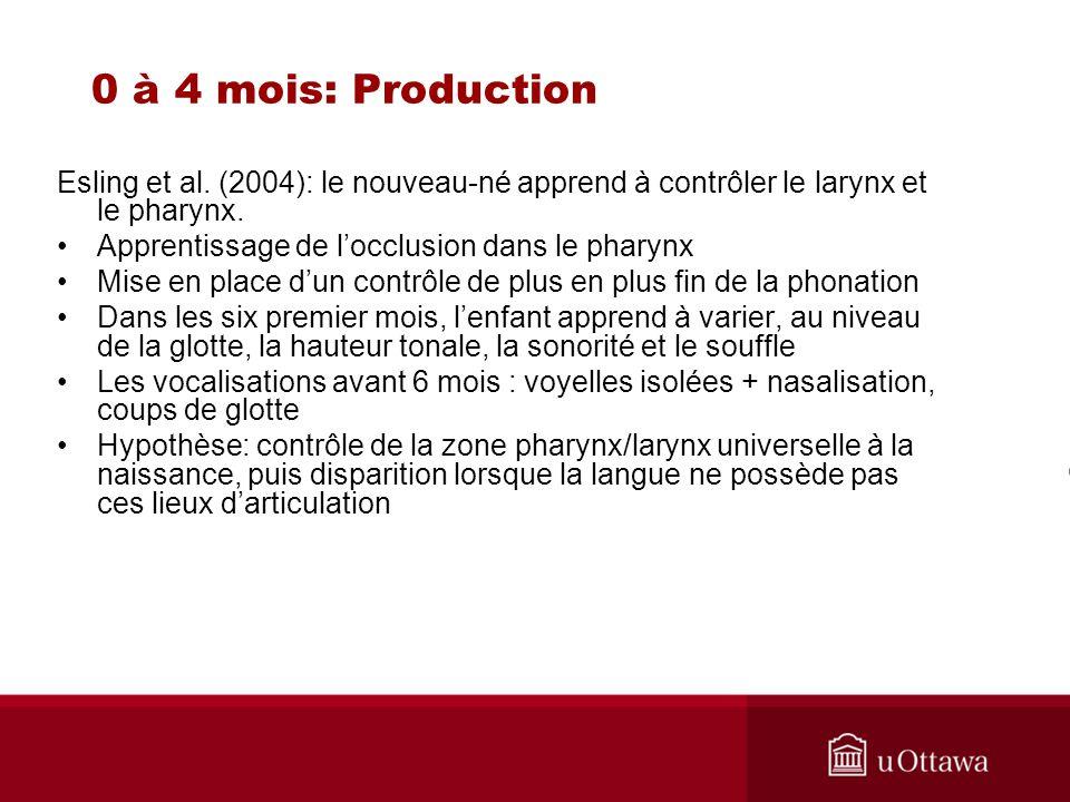 0 à 4 mois: Production Esling et al. (2004): le nouveau-né apprend à contrôler le larynx et le pharynx.