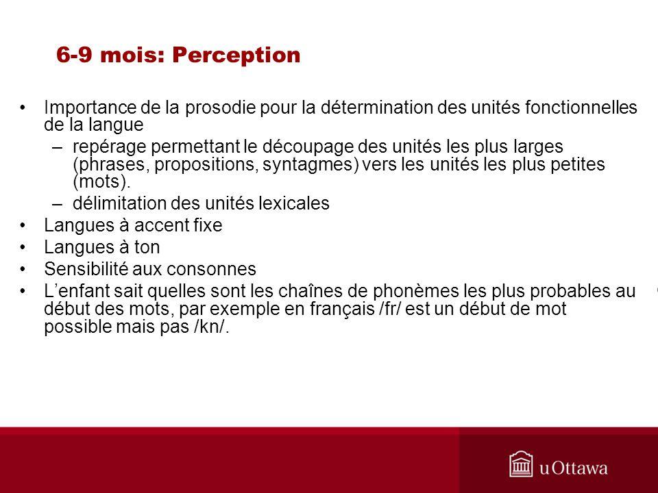 6-9 mois: Perception Importance de la prosodie pour la détermination des unités fonctionnelles de la langue.
