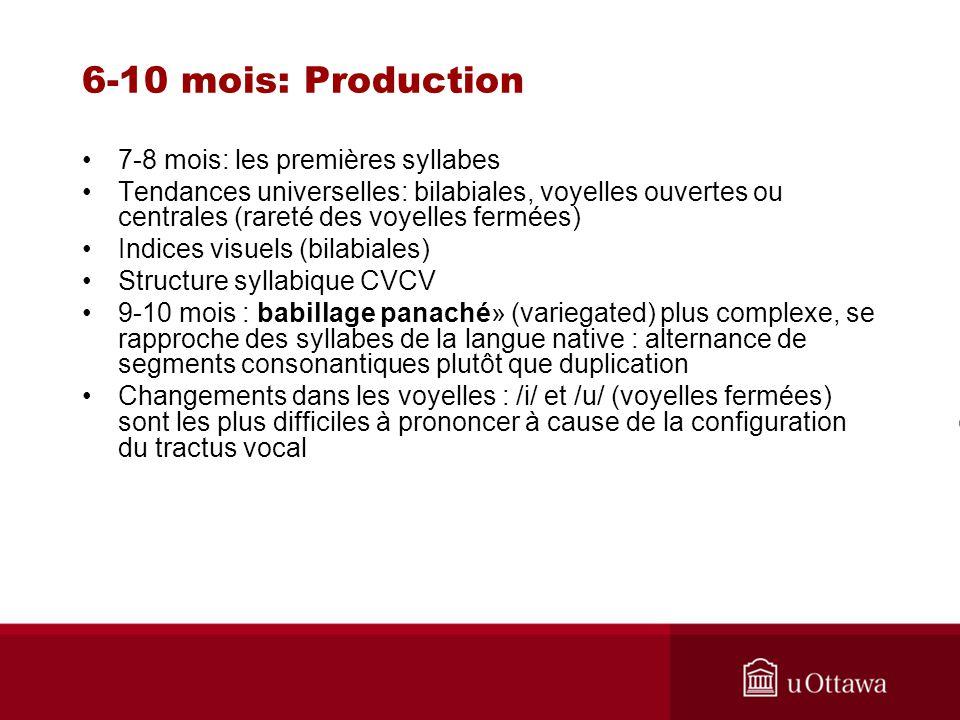 6-10 mois: Production 7-8 mois: les premières syllabes