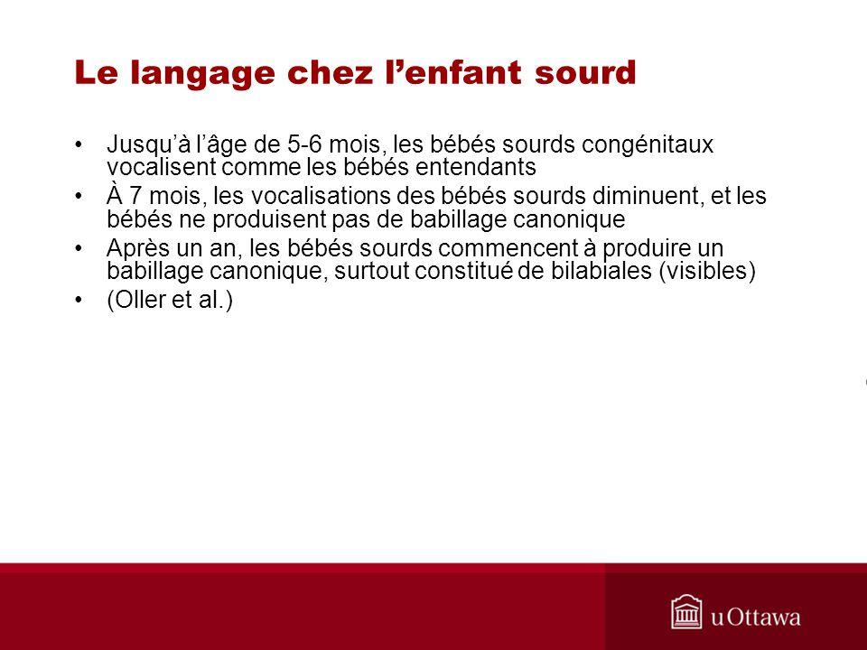 Le langage chez l'enfant sourd