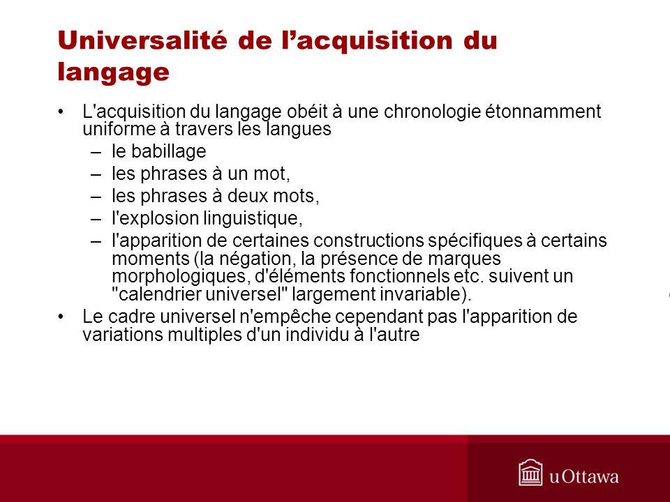 Universalité de l'acquisition du langage