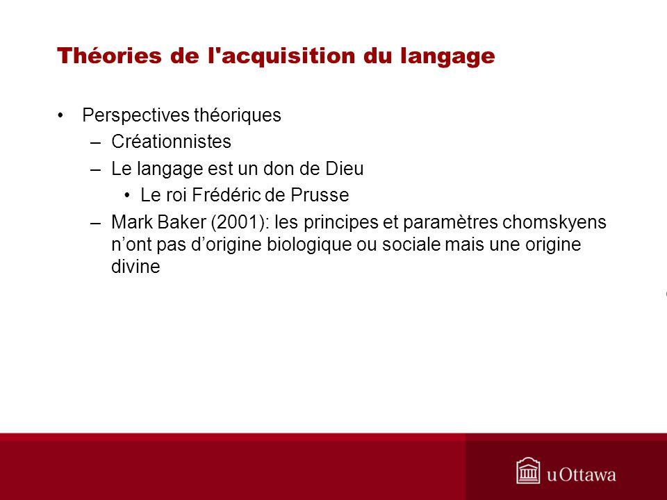Théories de l acquisition du langage