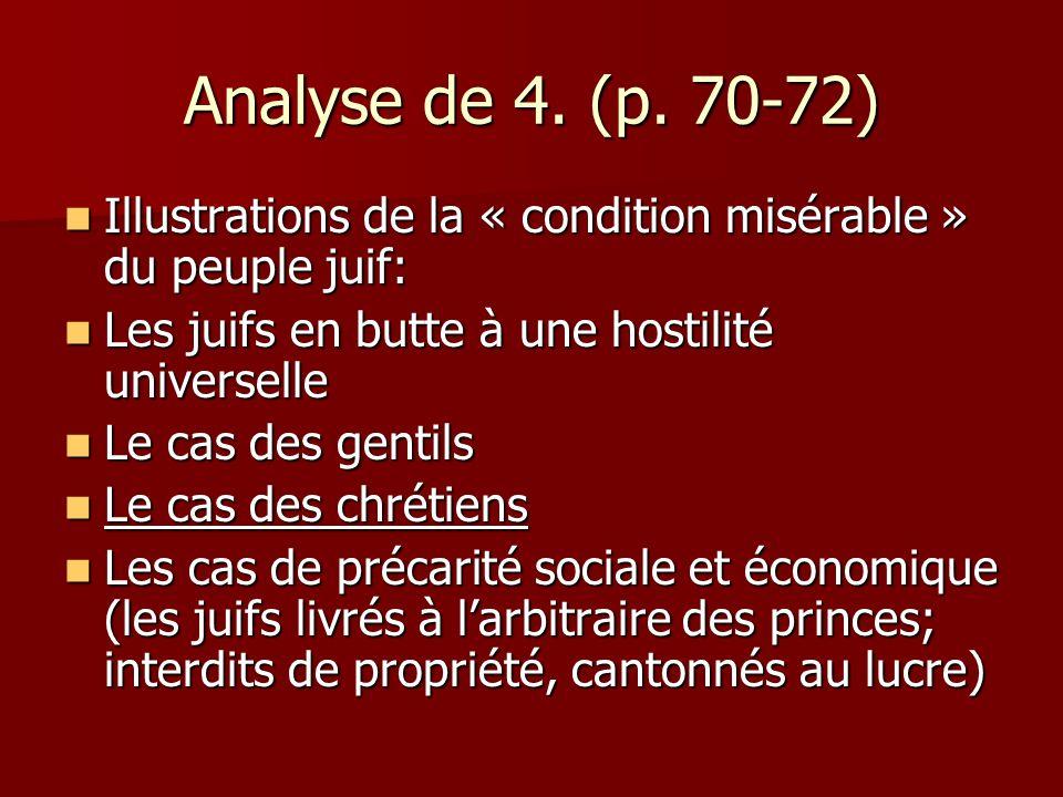 Analyse de 4. (p. 70-72) Illustrations de la « condition misérable » du peuple juif: Les juifs en butte à une hostilité universelle.