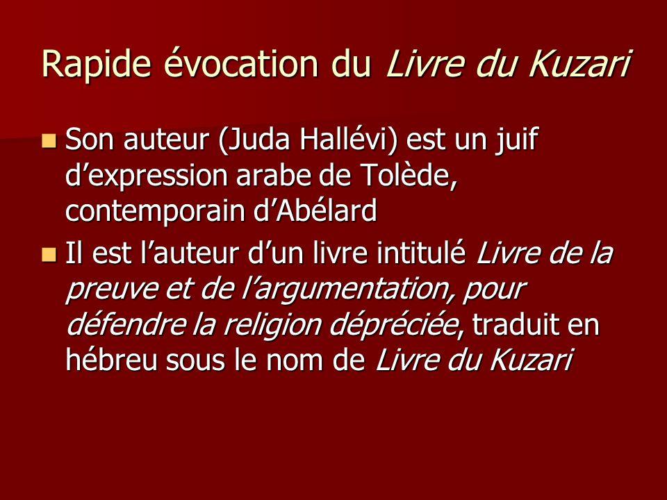 Rapide évocation du Livre du Kuzari