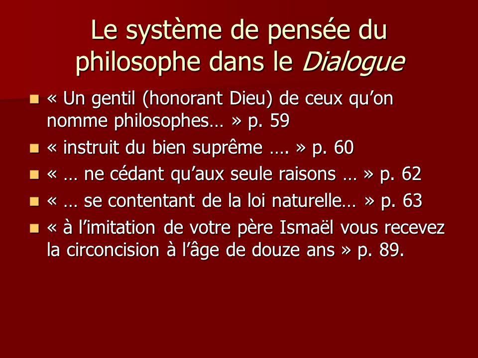 Le système de pensée du philosophe dans le Dialogue