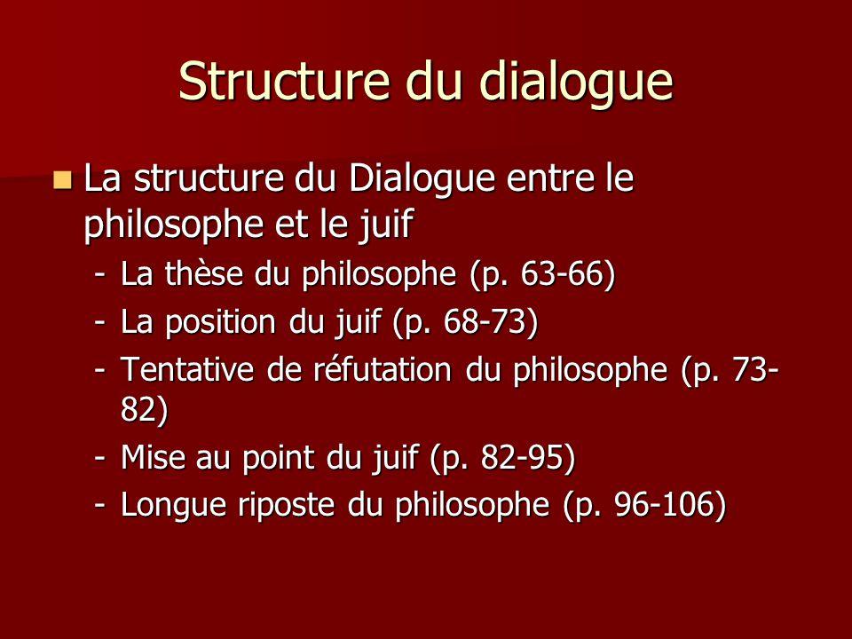 Structure du dialogue La structure du Dialogue entre le philosophe et le juif. La thèse du philosophe (p. 63-66)