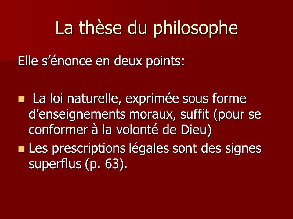 La thèse du philosophe Elle s'énonce en deux points: