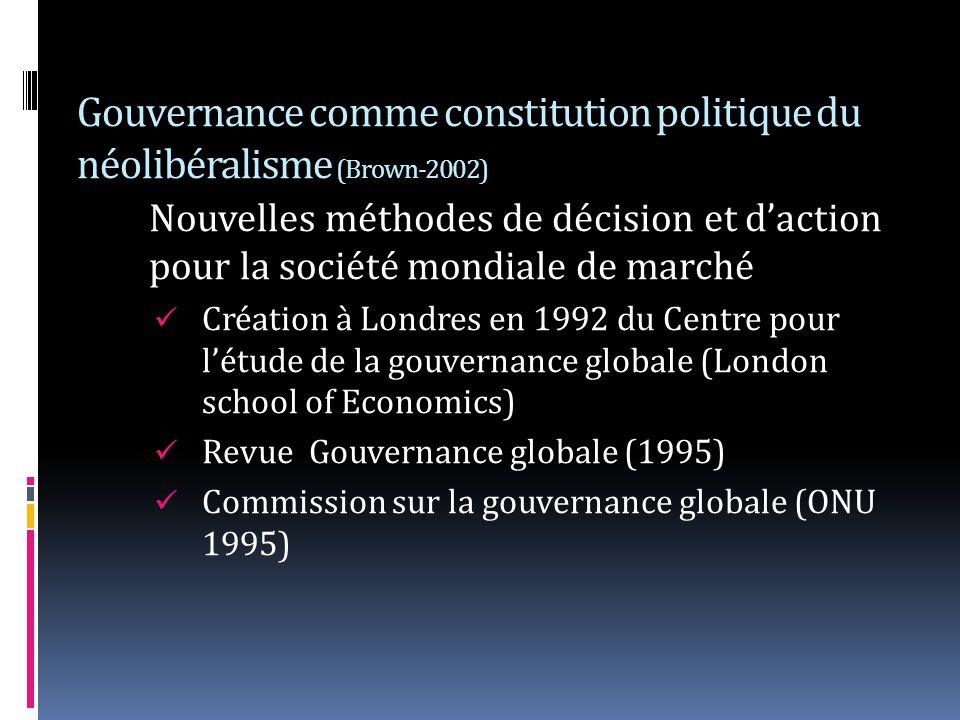 Gouvernance comme constitution politique du néolibéralisme (Brown-2002)