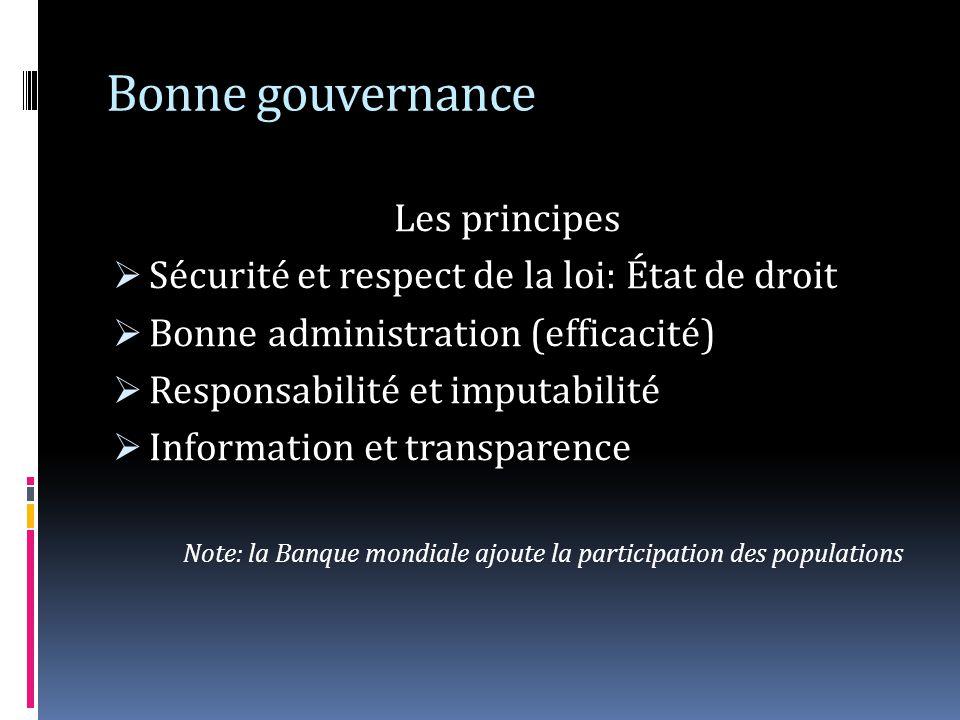 Bonne gouvernance Les principes
