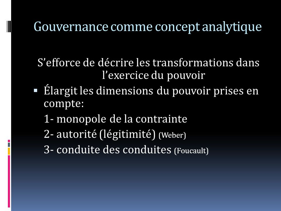 Gouvernance comme concept analytique