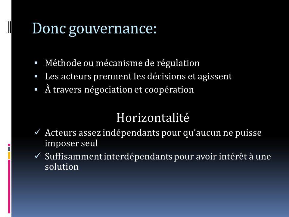 Donc gouvernance: Horizontalité Méthode ou mécanisme de régulation