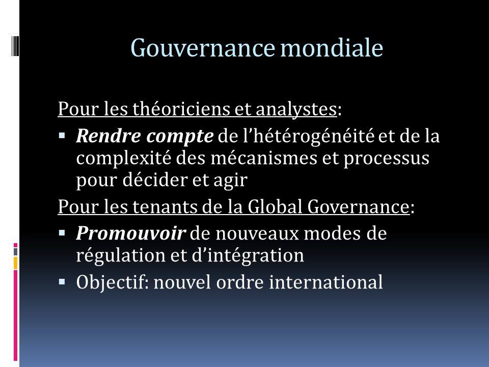 Gouvernance mondiale Pour les théoriciens et analystes: