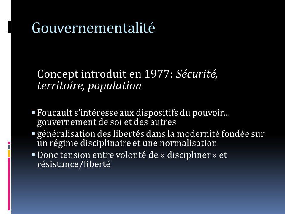 Gouvernementalité Concept introduit en 1977: Sécurité, territoire, population.