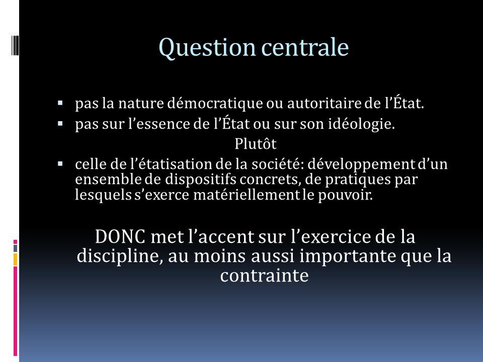 Question centrale pas la nature démocratique ou autoritaire de l'État. pas sur l'essence de l'État ou sur son idéologie.