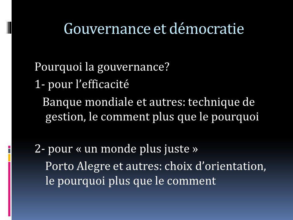 Gouvernance et démocratie