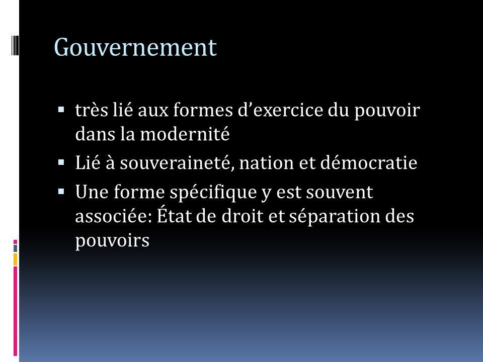 Gouvernement très lié aux formes d'exercice du pouvoir dans la modernité. Lié à souveraineté, nation et démocratie.