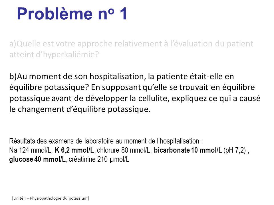 Problème no 1 Quelle est votre approche relativement à l'évaluation du patient atteint d'hyperkaliémie