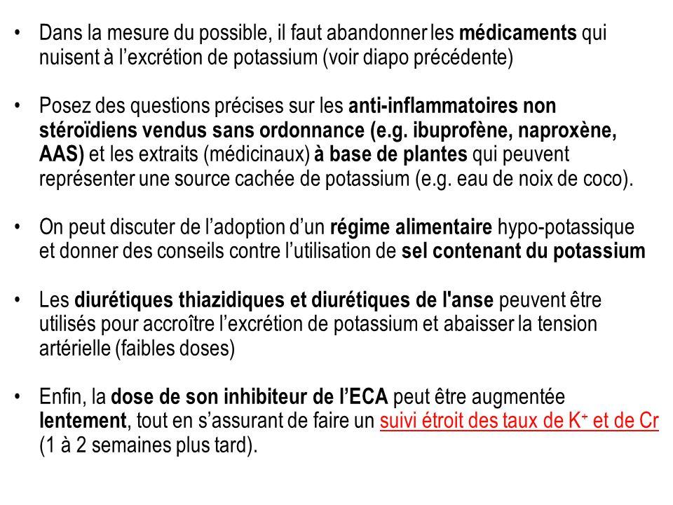 Dans la mesure du possible, il faut abandonner les médicaments qui nuisent à l'excrétion de potassium (voir diapo précédente)