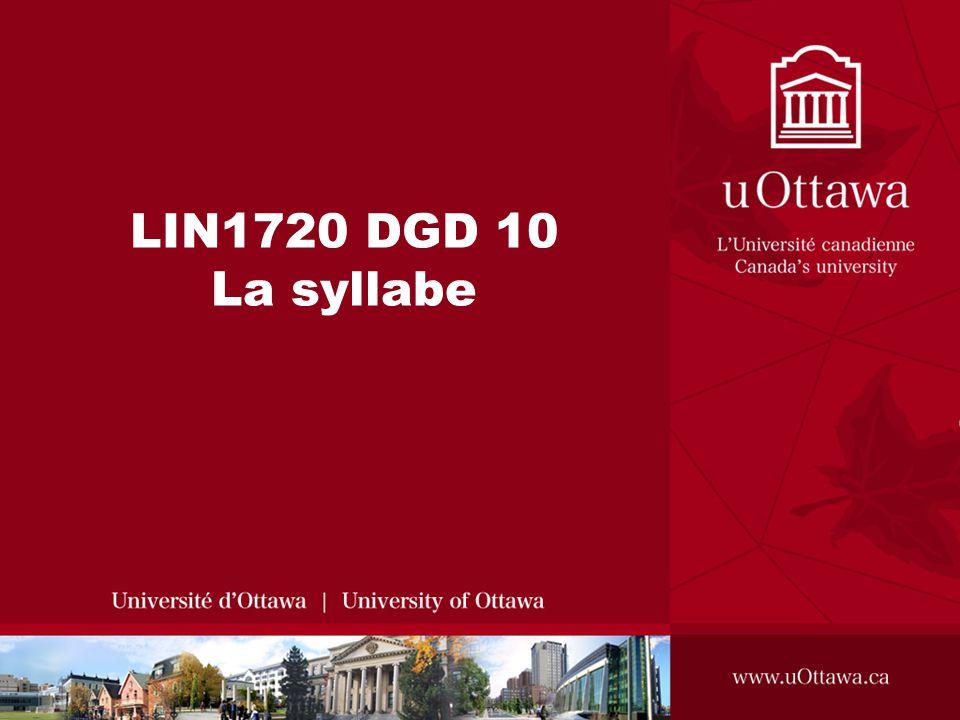 LIN1720 DGD 10 La syllabe