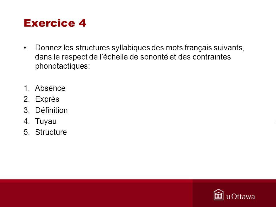 Exercice 4 Donnez les structures syllabiques des mots français suivants, dans le respect de l'échelle de sonorité et des contraintes phonotactiques: