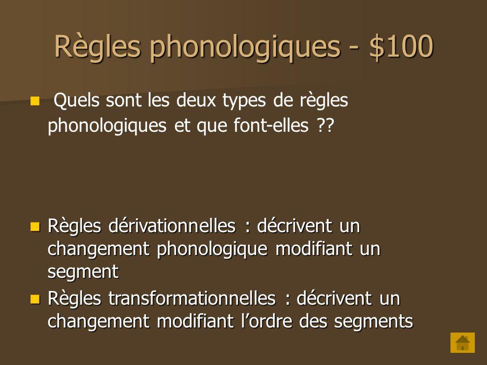 Règles phonologiques - $100